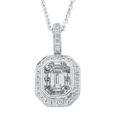 View Diamond Emerald Cut Cluster Pendant With Chain