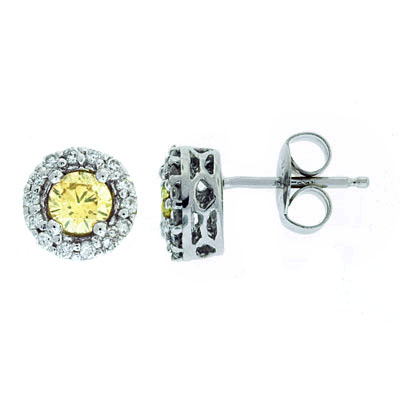 View Brown and White Diamond Earrings