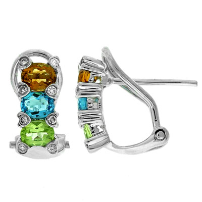 View Multi Color and Diamond Earrings