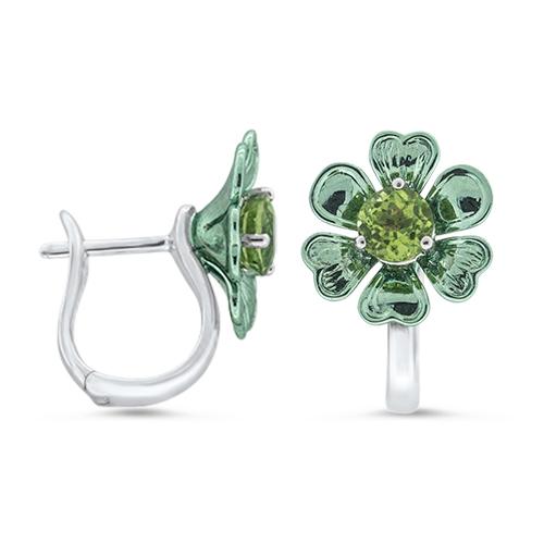 View Peridot Heart Flower Earrings