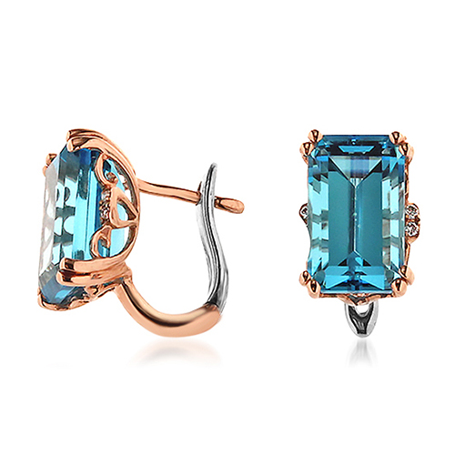 View Blue Topaz and Diamond Earrings