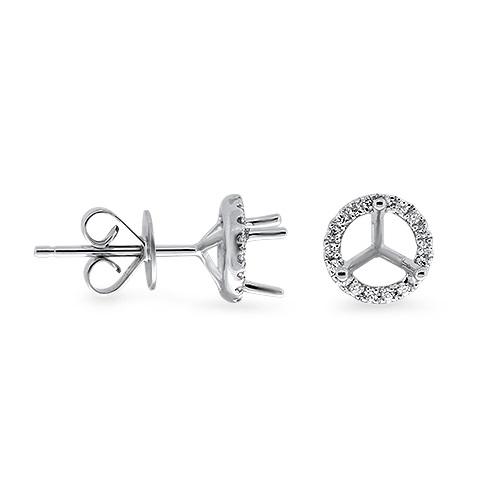 View Semi Mount Halo Studs Diamond Earrings (0.25ct Center)