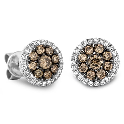 View Brown and White Diamond Round Cluster Earrings
