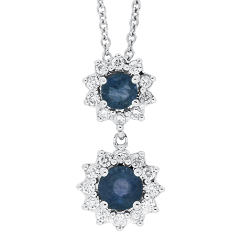 View Sapphire and Diamond Double Round Pendant With Chain