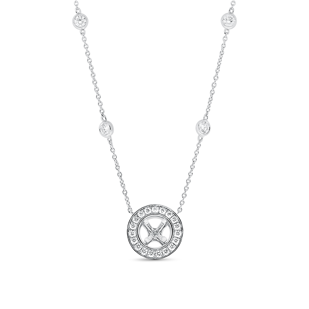 View Fancy Semi Mount Diamond Necklace For 0.25ct Center