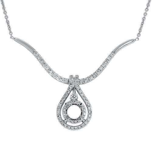 View Diamond Semi Mount Pear Drop Necklace