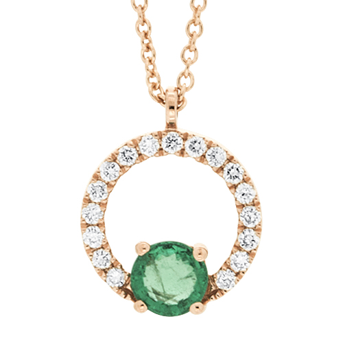 View Emerald and Diamond Pendant With Chain