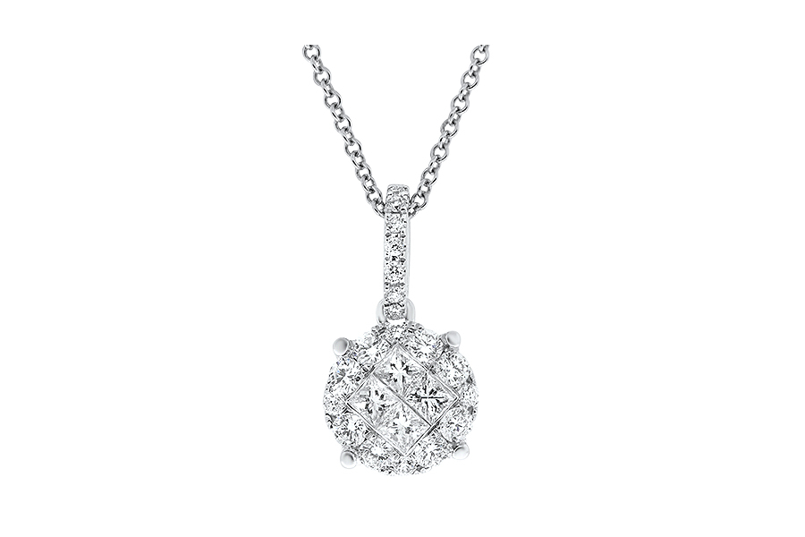 View Diamond Cluster Pendant With Chain