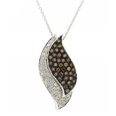 View Brown and White Diamond Pendant With Chain