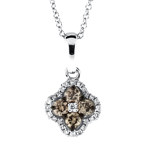 View Brown and White Diamond Mini Clover Cluster Pendant With Chain