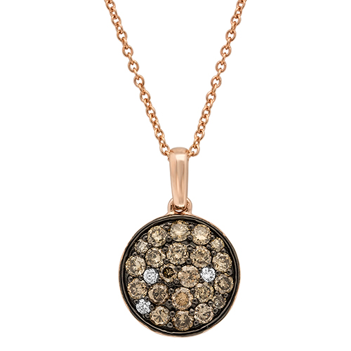 View Brown and White Diamond Speckle Disk Pendant With Chain