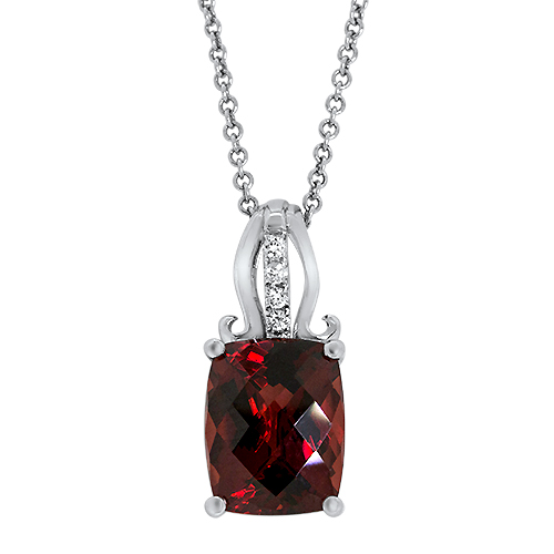 View Diamond and Garnet Pendant With Chain