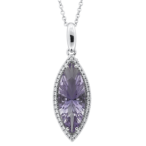 View Diamond and Marquise Amethyst Pendant with Chain