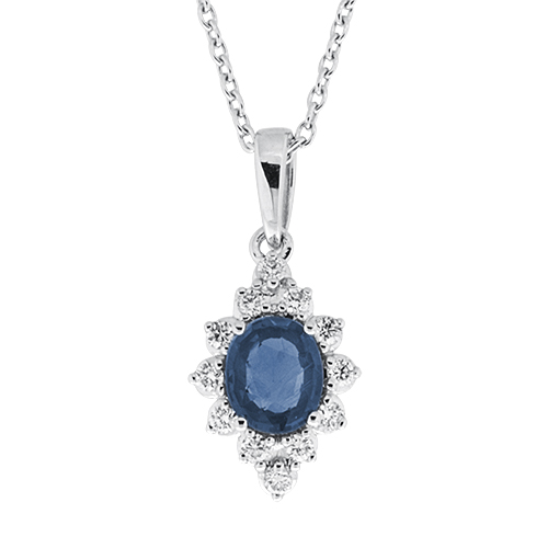 View Sapphire and Diamond Pendant With Chain