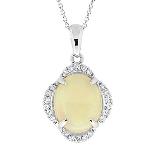 View Opal and Diamond Pendant With Chain