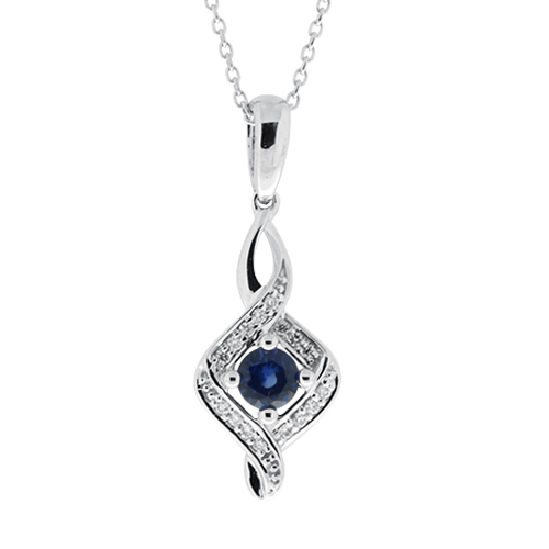 View Diamond and Sapphire Pendent With Chain
