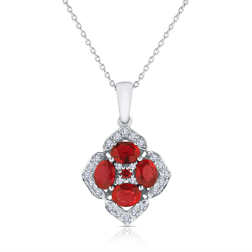 View Ruby and Diamond Pendant With Chain