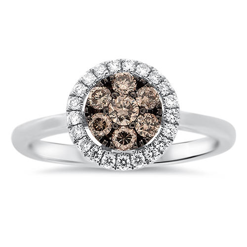 View Brown and White Diamond Cluster Ring