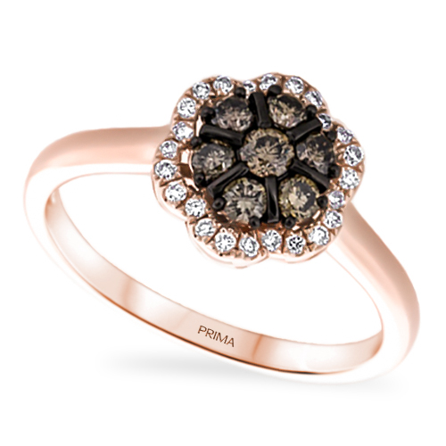 View Brown and White Diamond Flower Ring