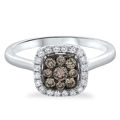 View Brown and White Diamond Cushion Cluster Ring