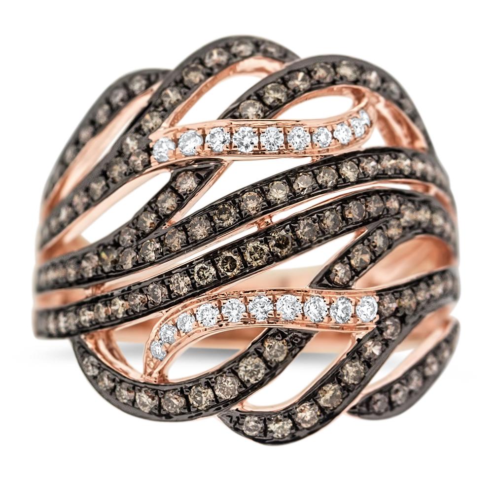 View Brown and White Diamond 9 Swirl Ring