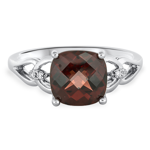 View Diamond and Cushion Garnet Ring