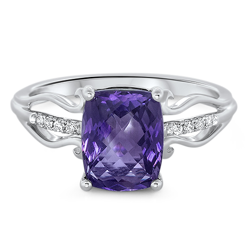 View Diamond and Amethyst Ring