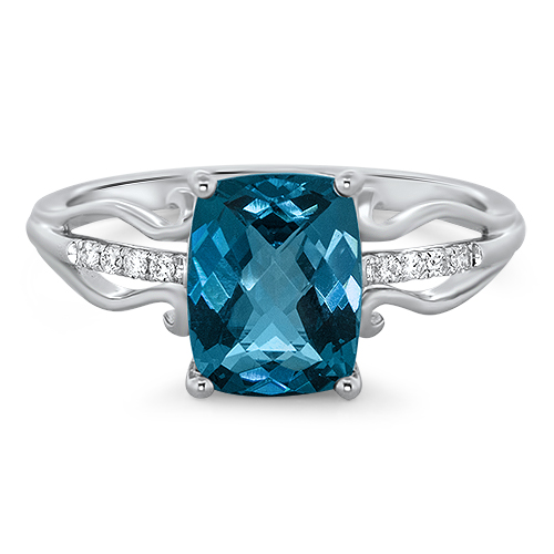 View Diamond and London Blue Ring