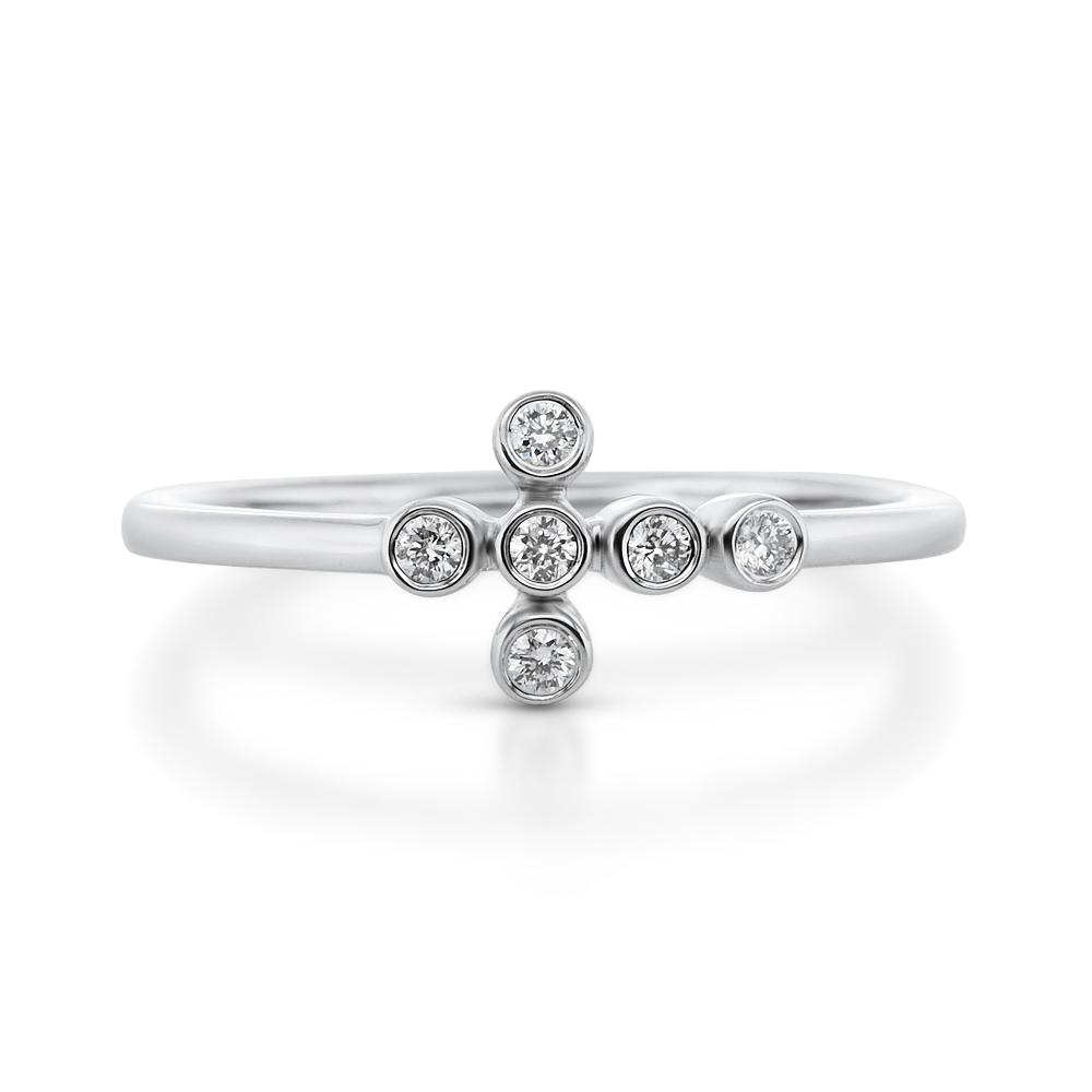 View Diamond Bazel Cross Ring